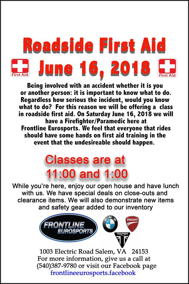 Roadside First Aid @ Frontline Eurosports | Salem | Virginia | United States